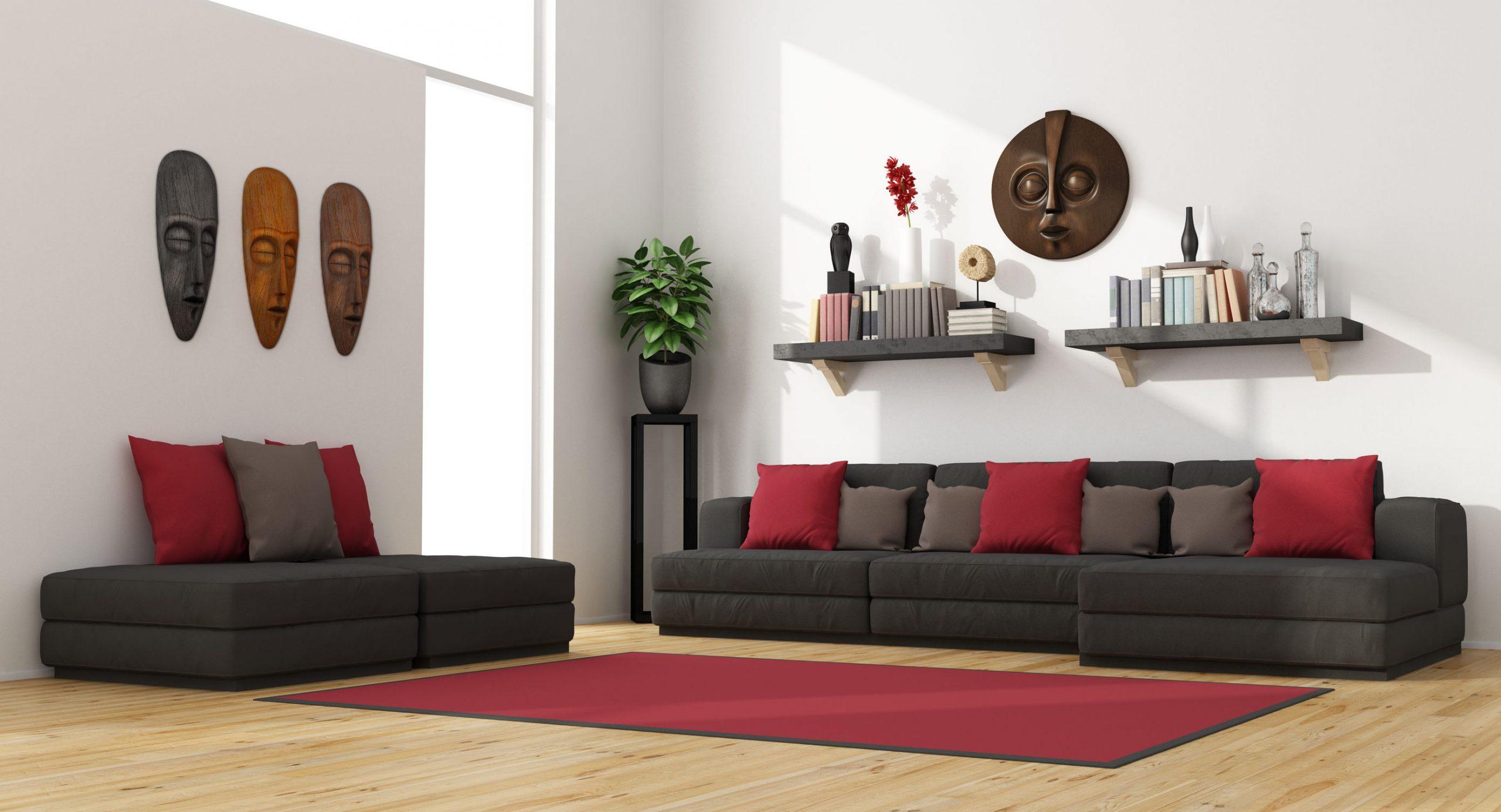 Estanterías de pared sobre el sofá